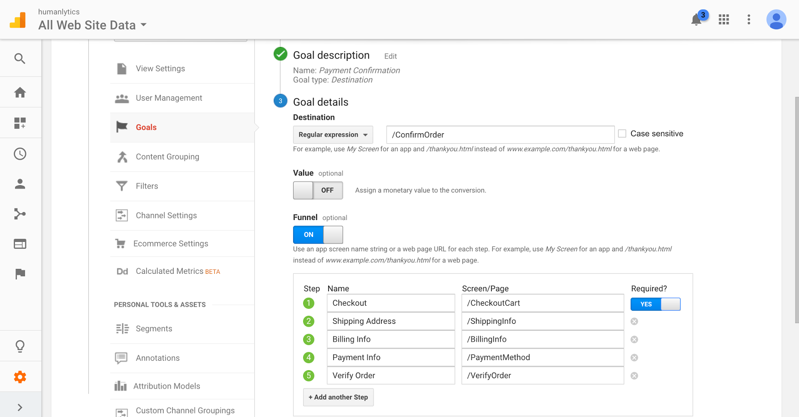 how to set up goal funnel visualization reports on google analytics