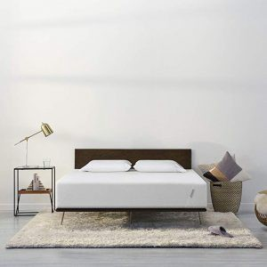 modern bed and mattress setup