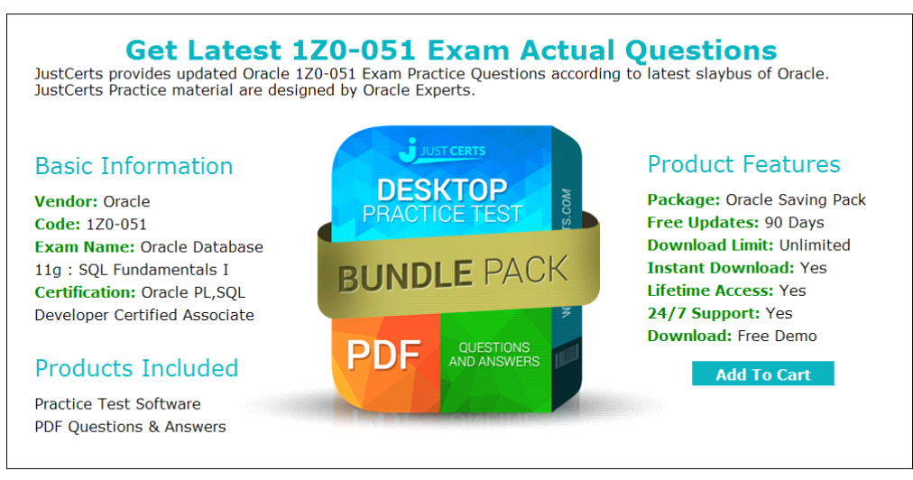 Up-to-Date Oracle 1Z0–051 Exam Questions & Practice Tests
