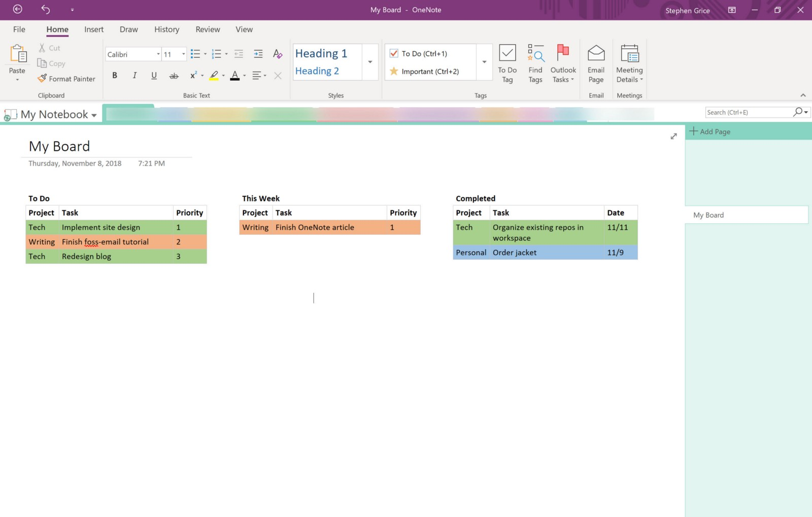 how to use microsoft onenote for project management