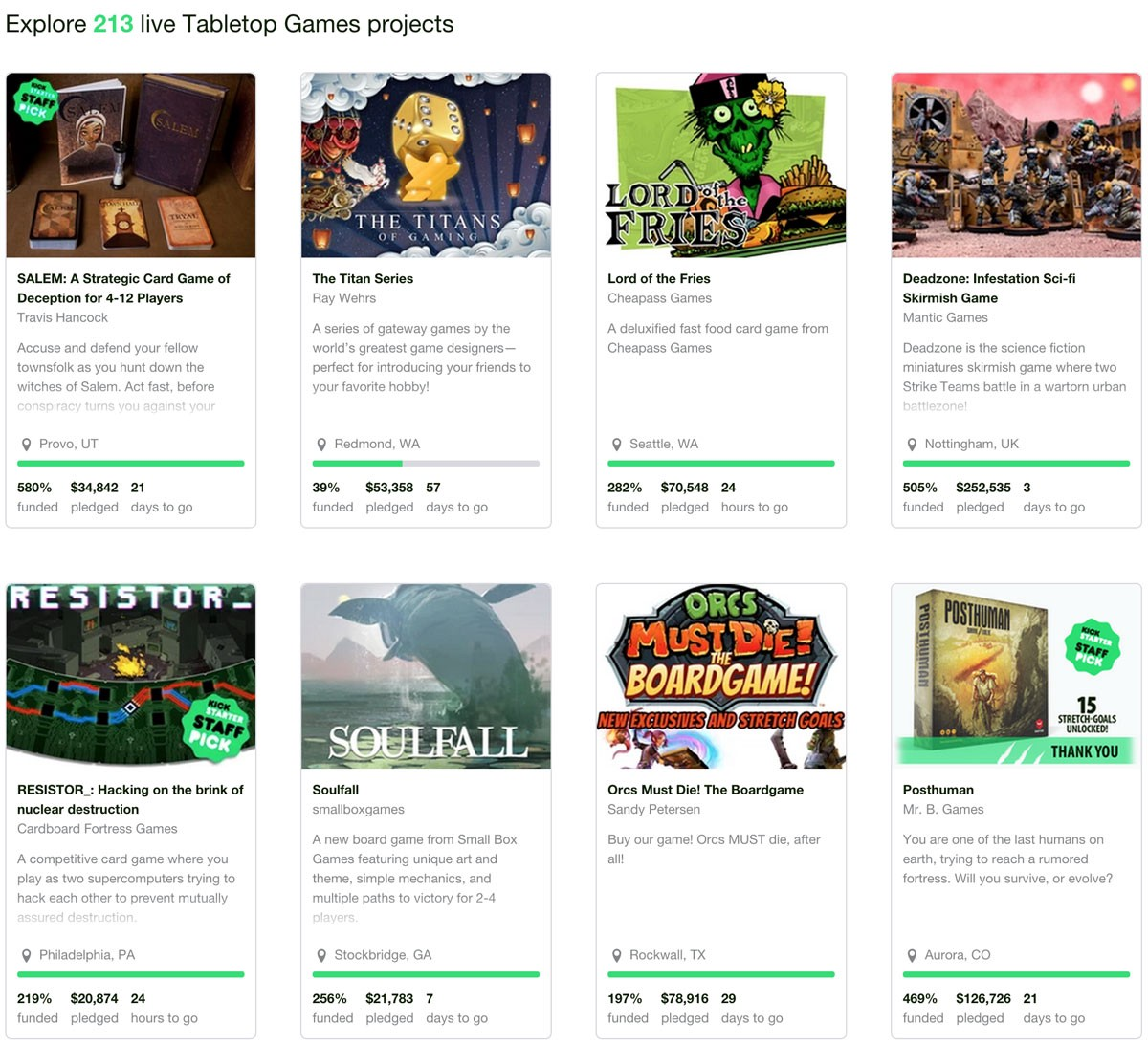 As Im Writing This There Are Currently 213 Table Top Related Projects You Can Fund On Kickstarter Thats A Great Display Of How Far The Board Game