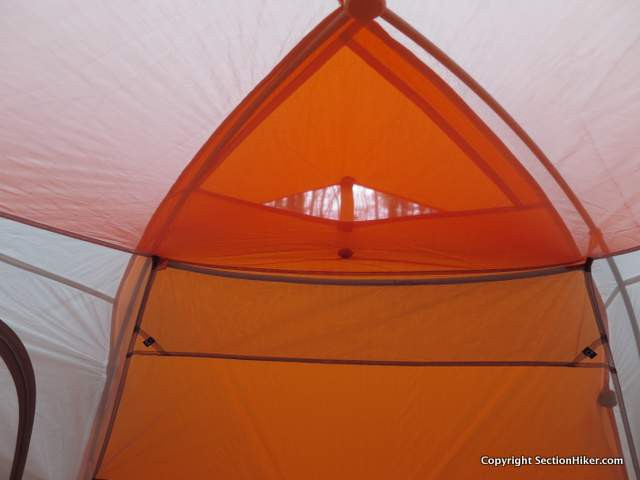 The Copper Spur HV UL 2 has a tent-wide mesh pocket at the head end for stashing phones and power chargers, with ports for running headphones or cords