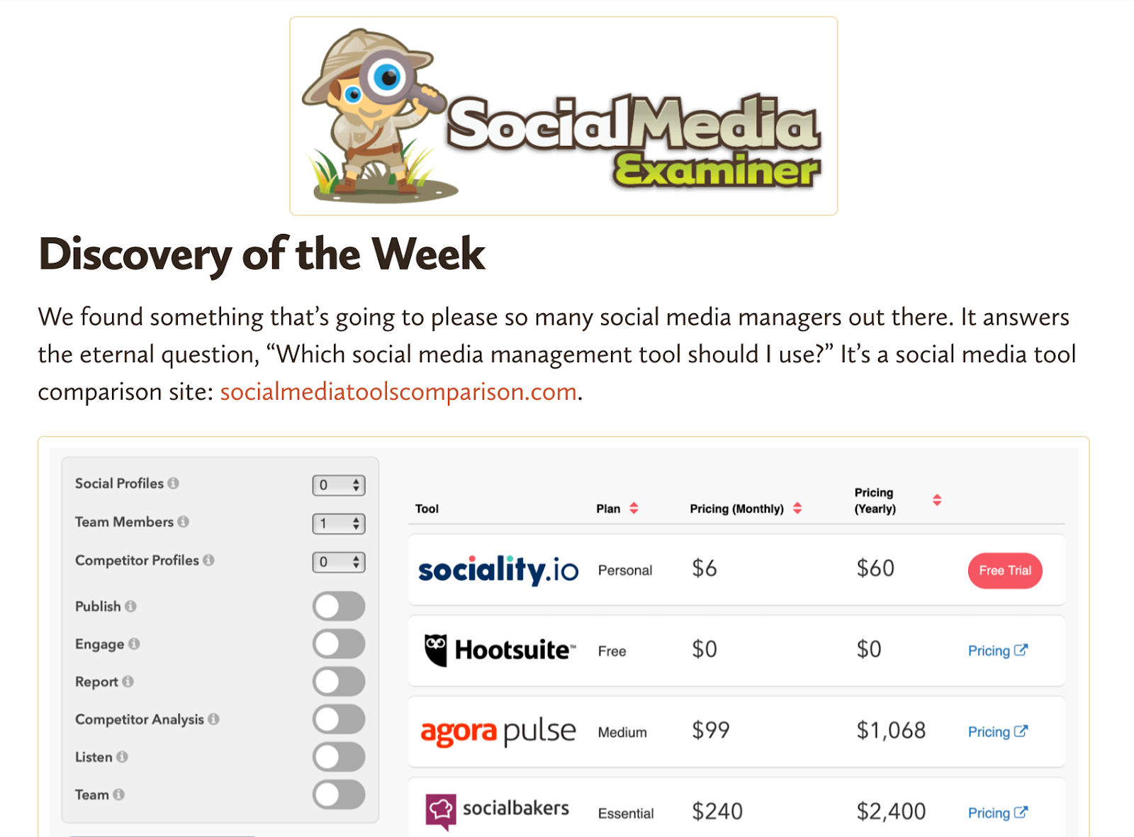 Social Media Examiner — Discovery of the week
