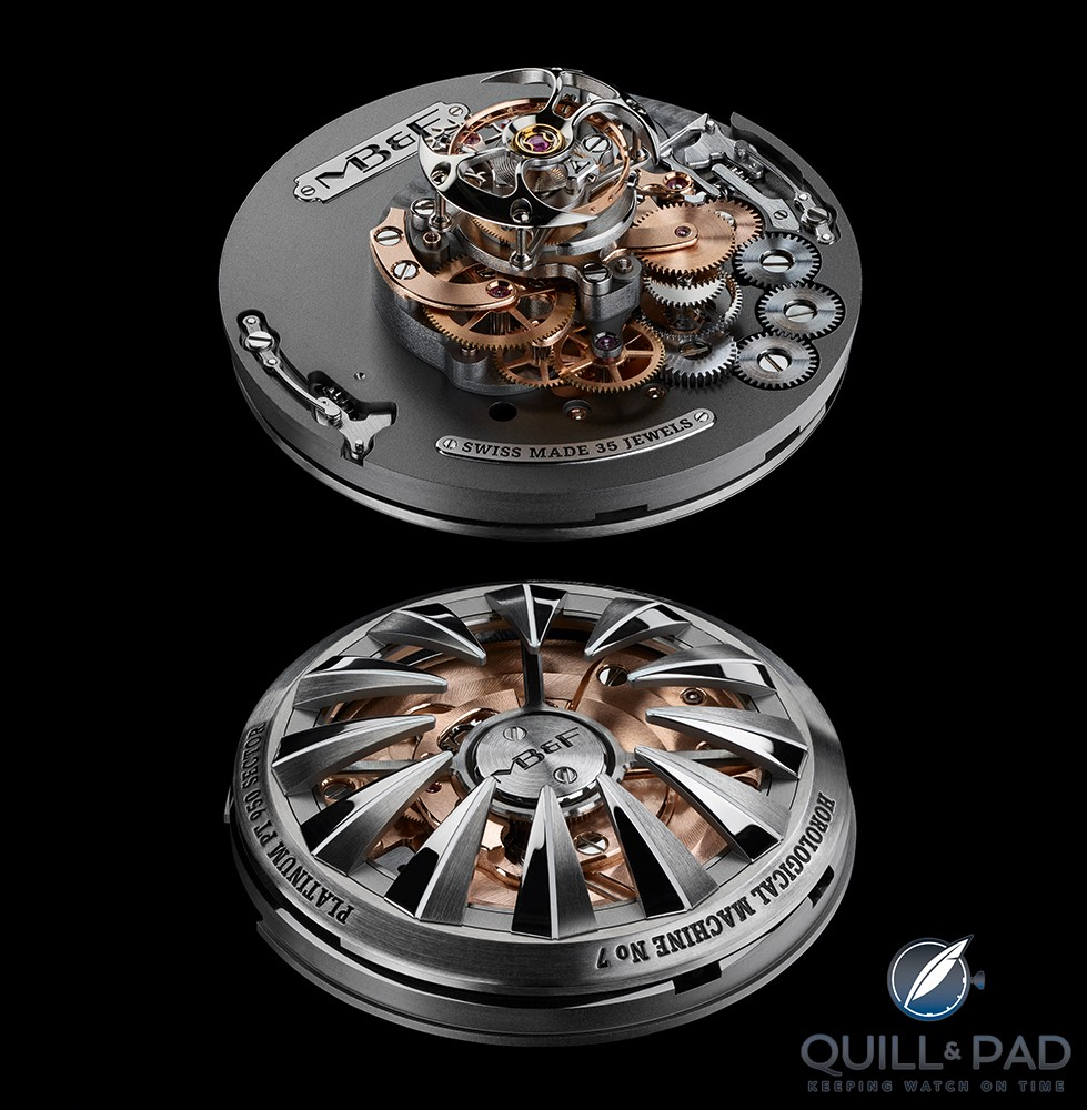 Views from top and botom of the MB&F HM7 movement