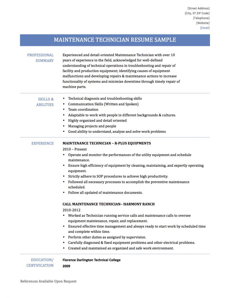 Maintenance Technician Resume Samplestemplates And Tips