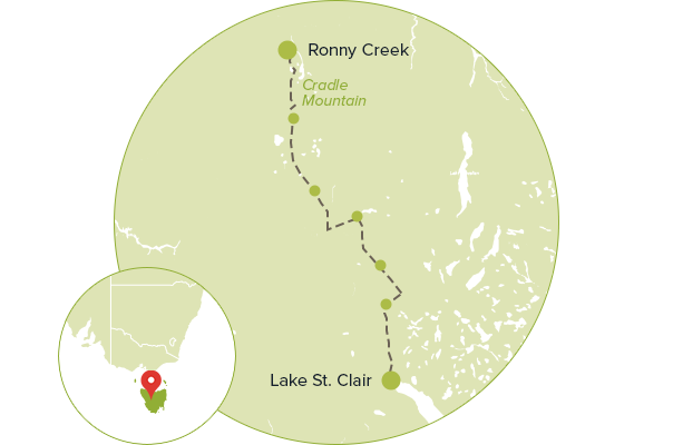 Map of itinerary - Overland Track, TAS