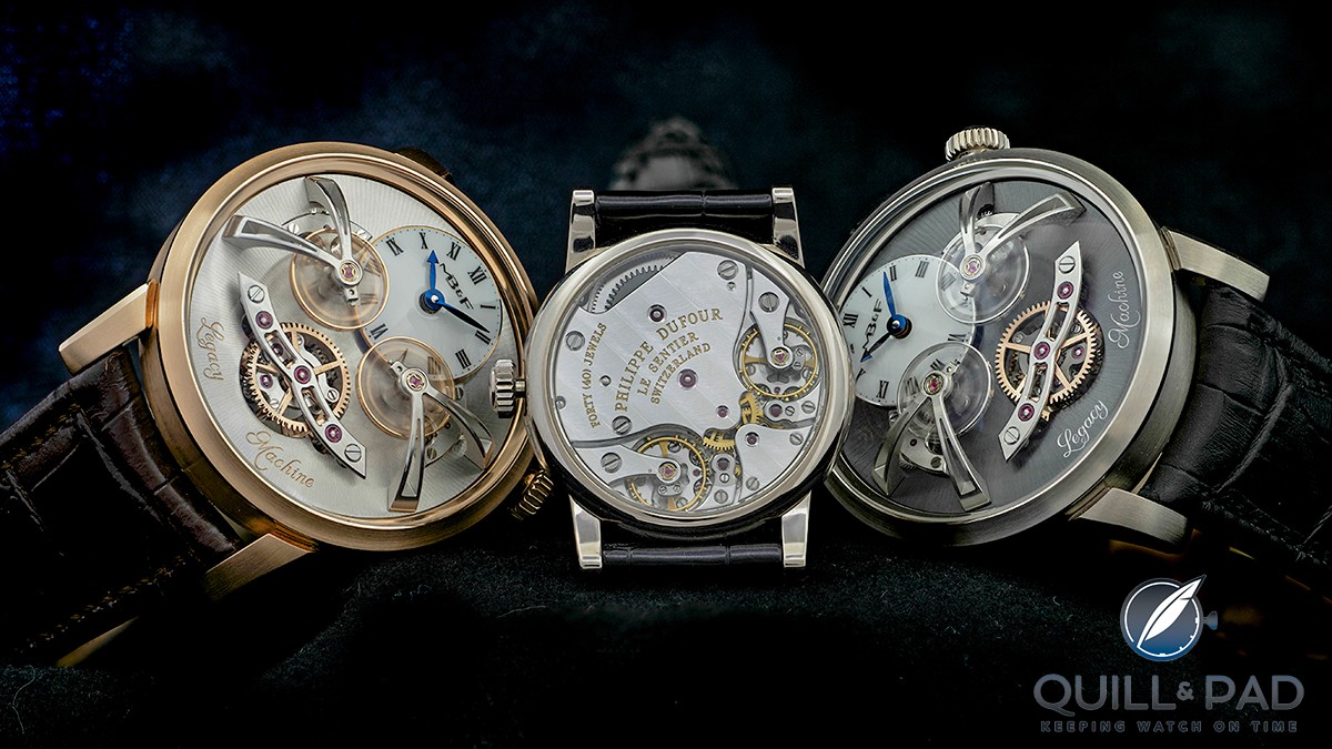 Two MB&F Legacy Machine No.2s flanking their inspiration, a Philip Dufour Duality. All feature two escapements linked by a differential.