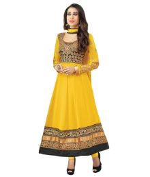 Indian Wear Online Yellow Faux Georgette Embroidered Anarkali Dress Material