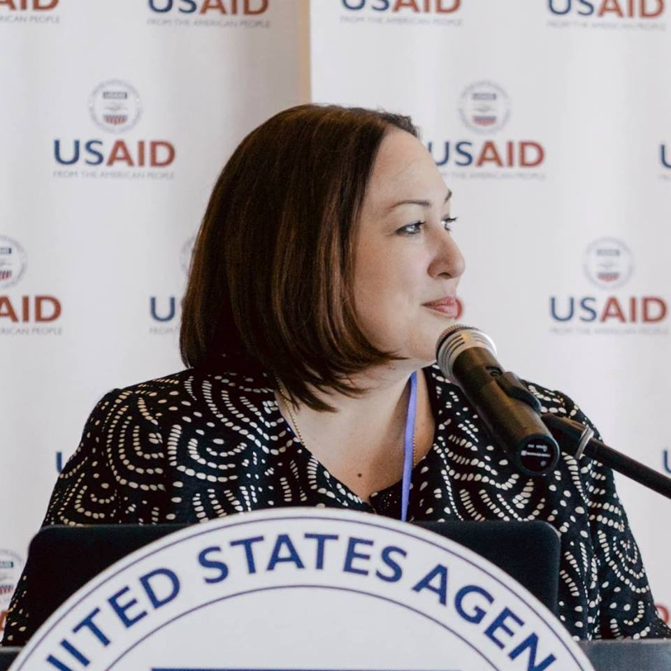 Jenifer Moore, Charge d'Affaires, U.S. Embassy Minsk speaks at a USAID event.
