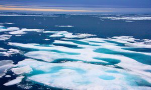 Sea ice in the Northwest Passage near Nunavut in the Canadian Arctic.
