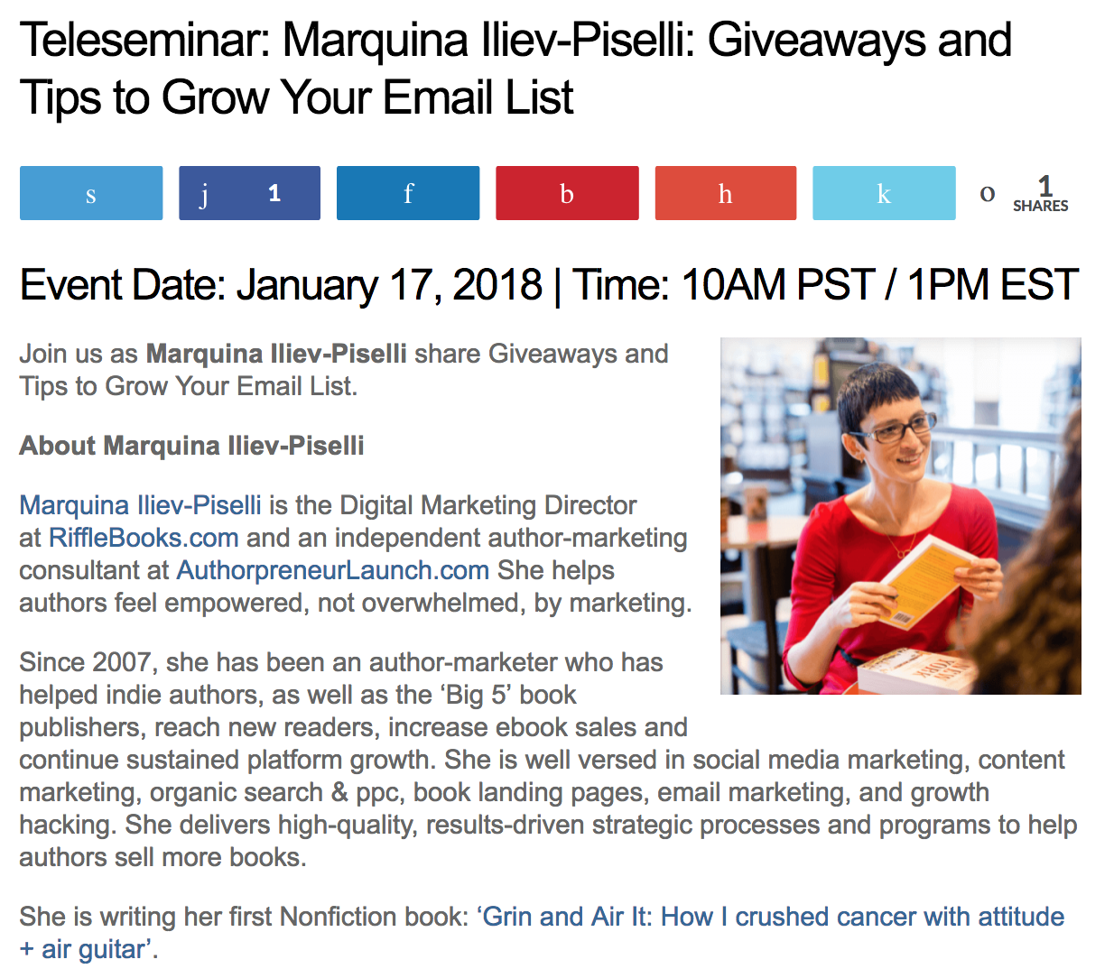 Teleseminar: Marquina Iliev-Piselli: Giveaways and Tips to Grow Your Email List