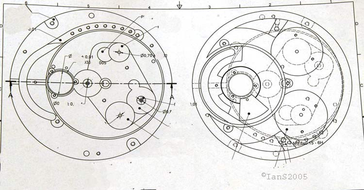 Technical drawing of the baseplate of the Harry Winston Opus V by Urwerk