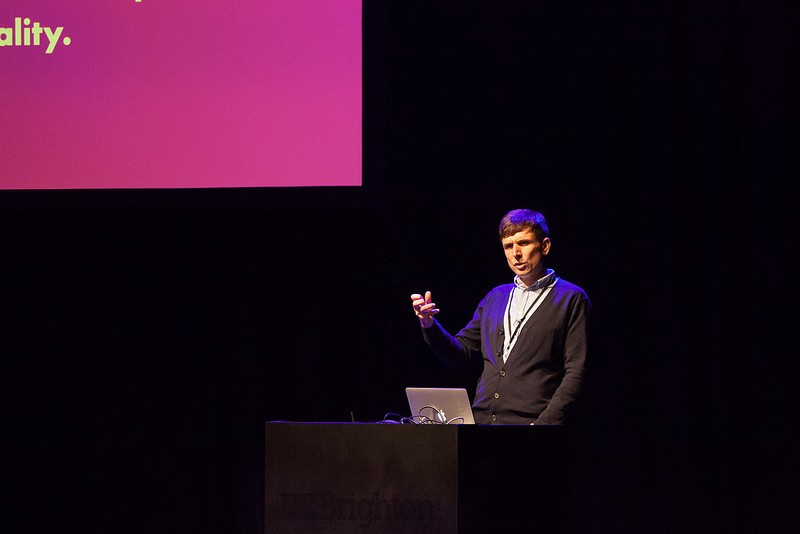 James Box speaking at UX Brighton 2017