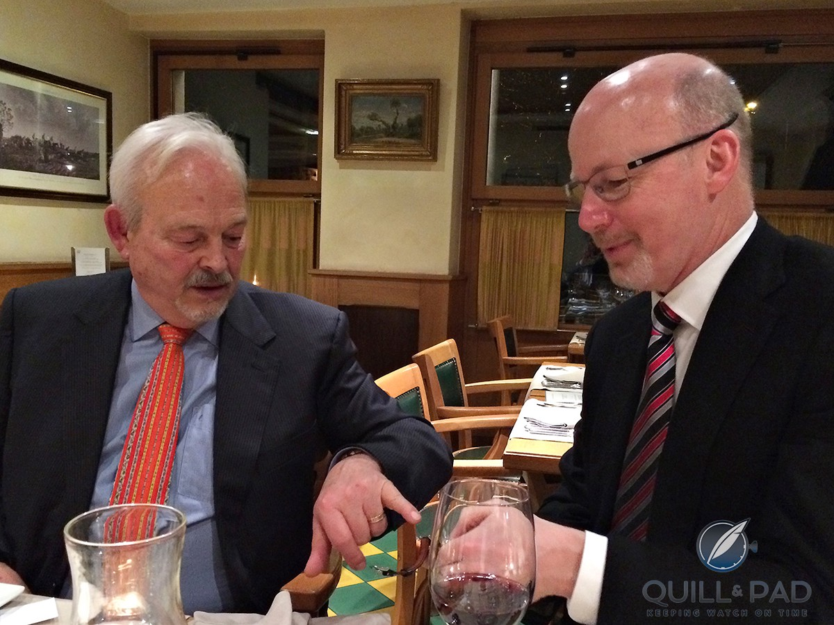 Philippe Dufour and the author exchanging views over a glass (or two) of wine