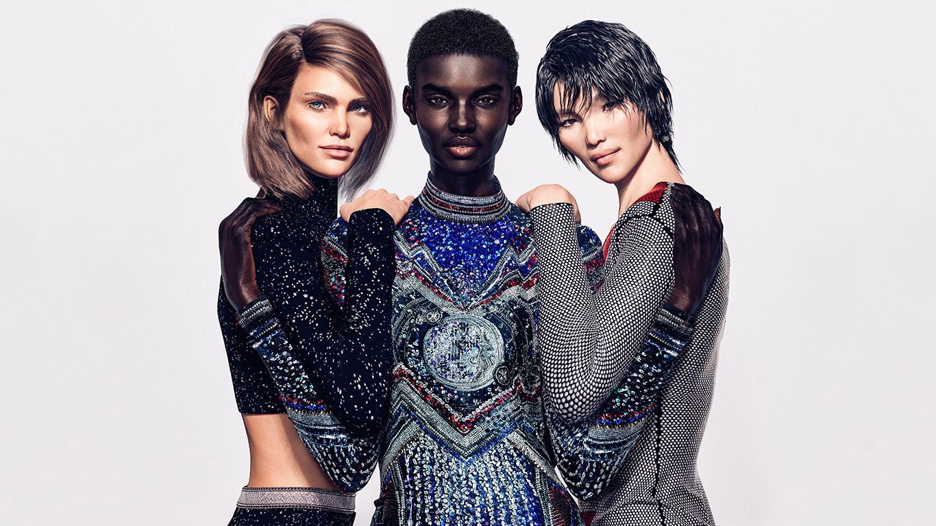 Fake influencers in a Balmain ad campaign
