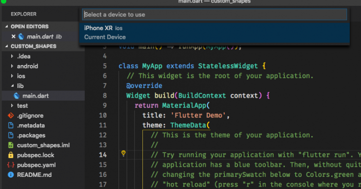 Selecting the Device on which the app will run on from the list of devices connected in VSCode