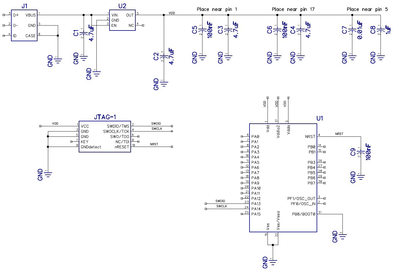 Tutorial How To Design Your Own Custom Microcontroller Board Part 1 Based Schematics Circuits Projects And Figure 3 Schematic Circuit Diagram For This First Showing The Stm32 Linear Regulator Usb Connector Programming