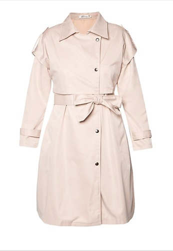 KLEEaisons Belted Cape Trench Coat