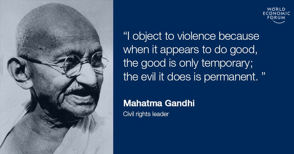 analysis of ghandis non violence The forms of nonviolence draw inspiration from both religious or ethical beliefs and political analysis nonviolence gandhi non-injury and non-violence.