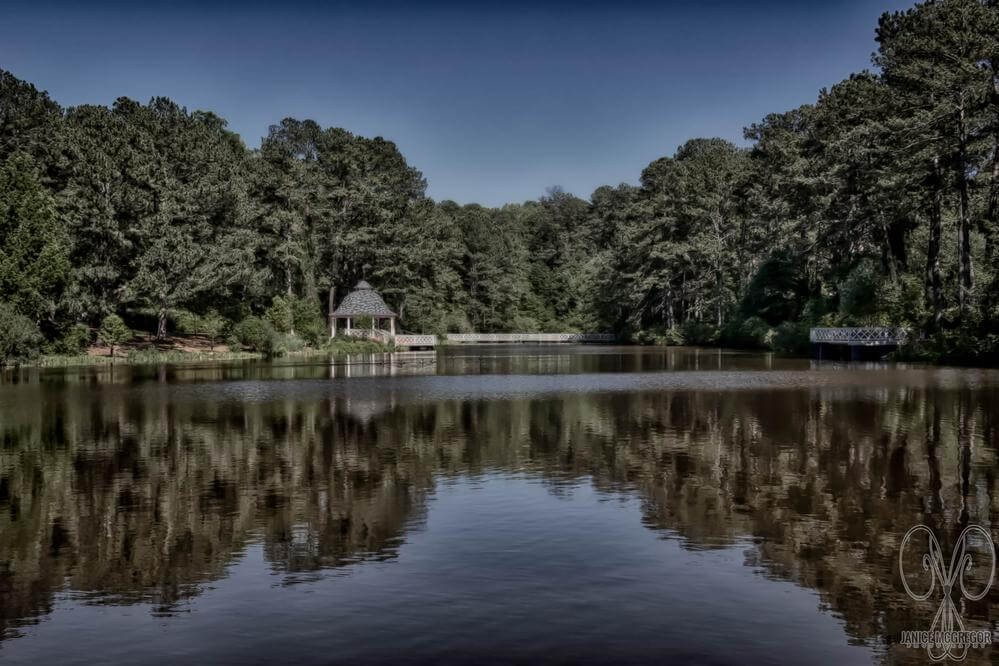 A View from the far end of the lake at the Vines Botanical Gardens in Loganville, GA.