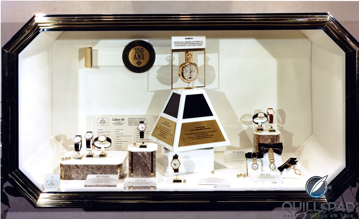 Patek Philippe Calibre 89 in the center of this display at Baselworld in 1990 commemorating the brand's 150th anniversary