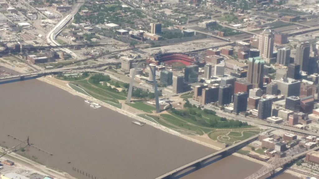 Aerial view of St. Louis and the Gateway Arch