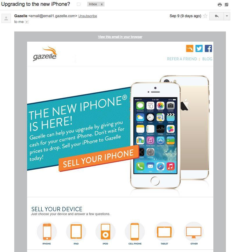 gazelle-new-iphone-email