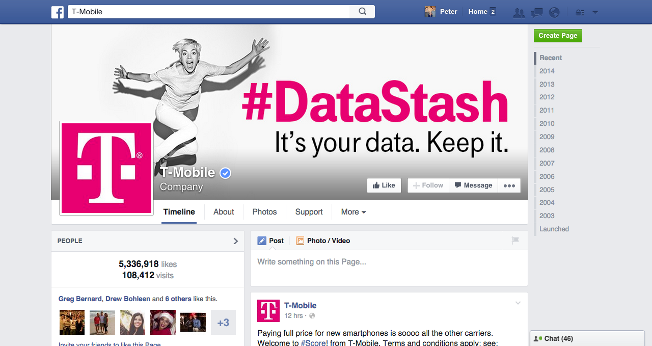 boasting more than five million likes t mobiles facebook page had an unprecedented 9113 response rate in the third quarter of 2014