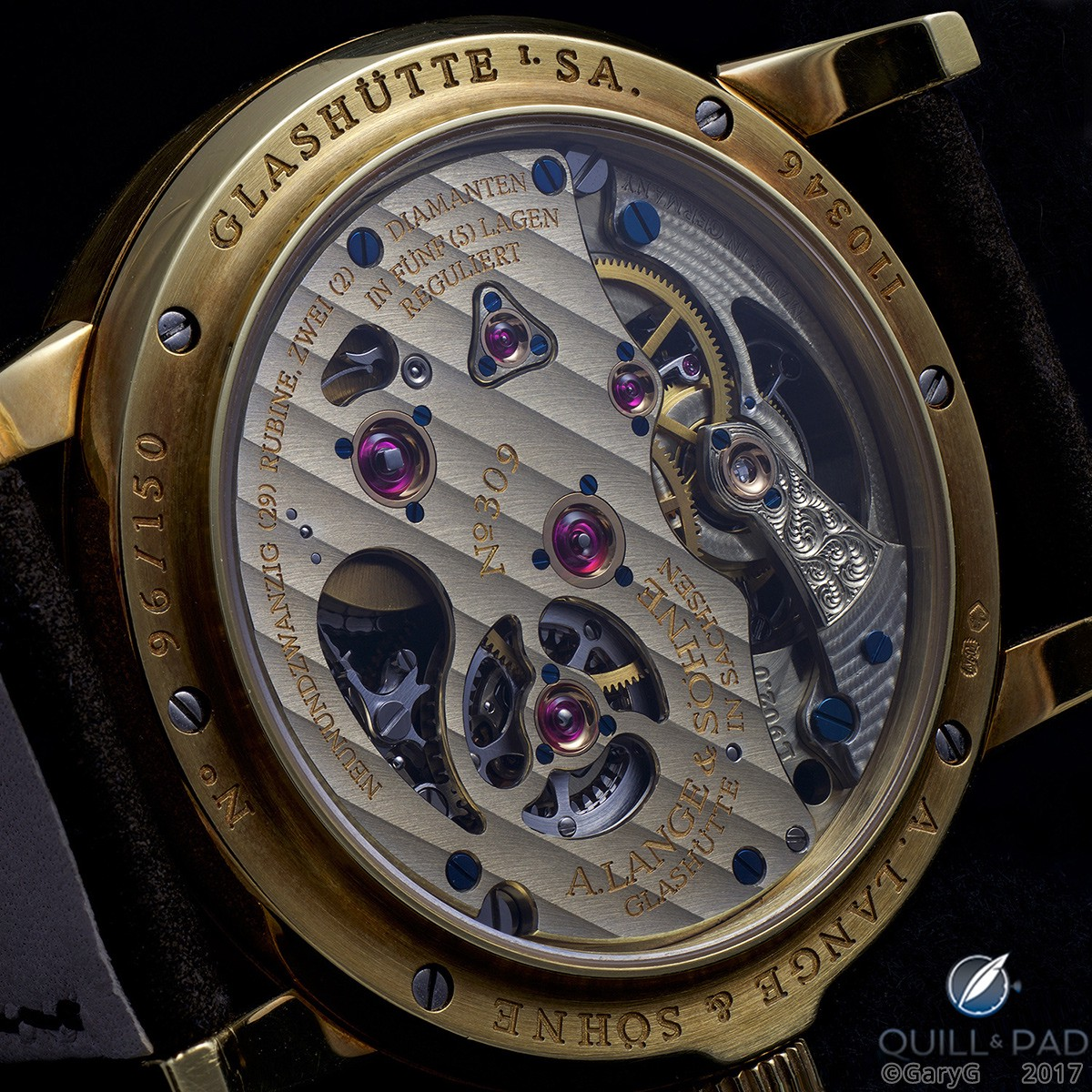 Concealing its secrets: solid three-quarter plate of the A. Lange & Söhne Pour le Mérite Tourbillon