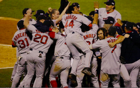 ST. LOUIS - OCTOBER 27: The Boston Red Sox celebrate after winning game four of the 2004 World Series against the St. Louis Cardinals at Busch Stadium on October 27, 2004 in St. Louis, Missouri. The Red Sox defeated the Cardinals 3-0 to win their first World Series in 86 years. (Photo by Ron Vesely/MLB Photos via Getty Images)