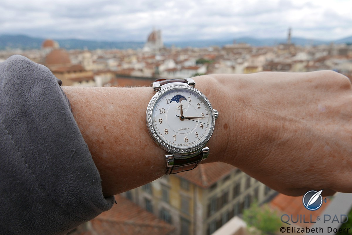 IWC Da Vinci Automatic Moon Phase 36 on the wrist overlooking Florence