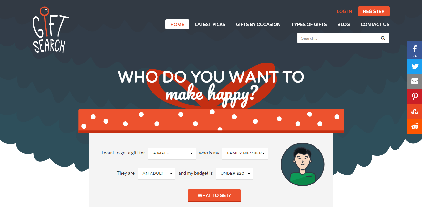 Gift Search Bootstrap website example