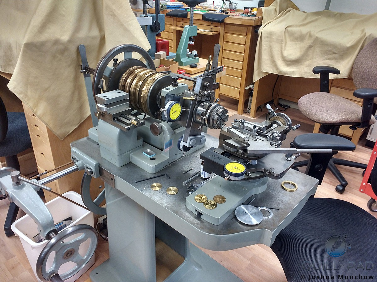 One of the many guilloche machines at the RGM workshop