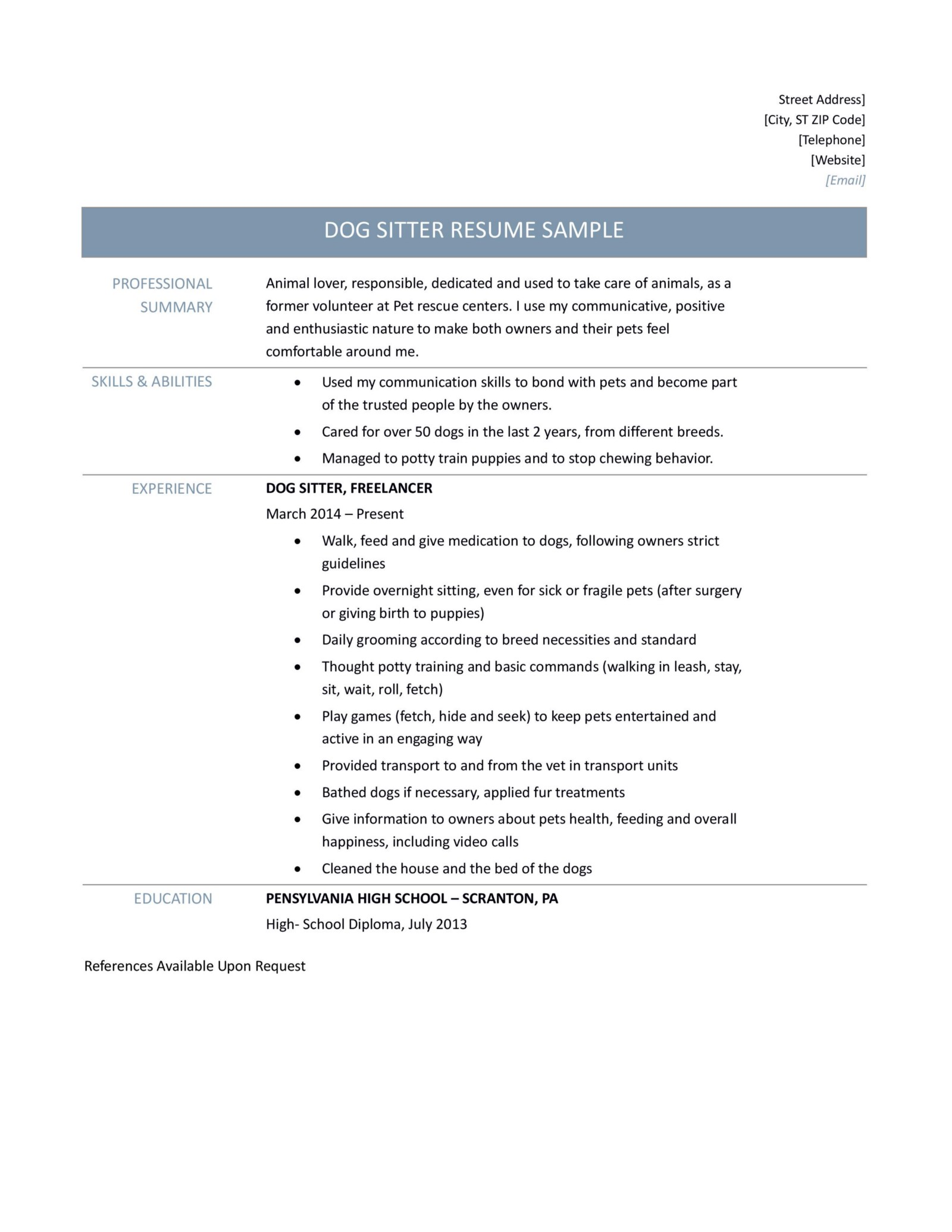 Dog Sitter Resume Samples Tips and Template – Online Resume Builders ...