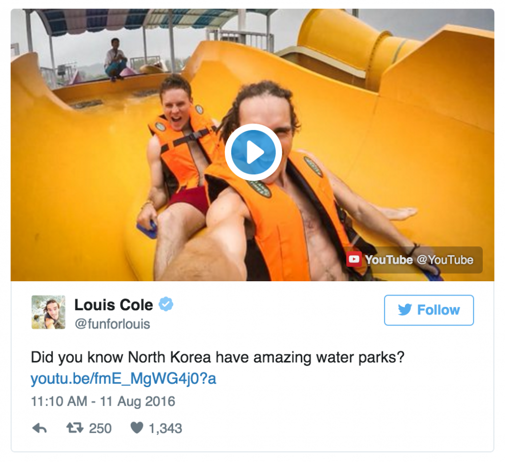 Louis Cole on Twitter, @funforlouis. Glad you're enjoying yourself, buddy.