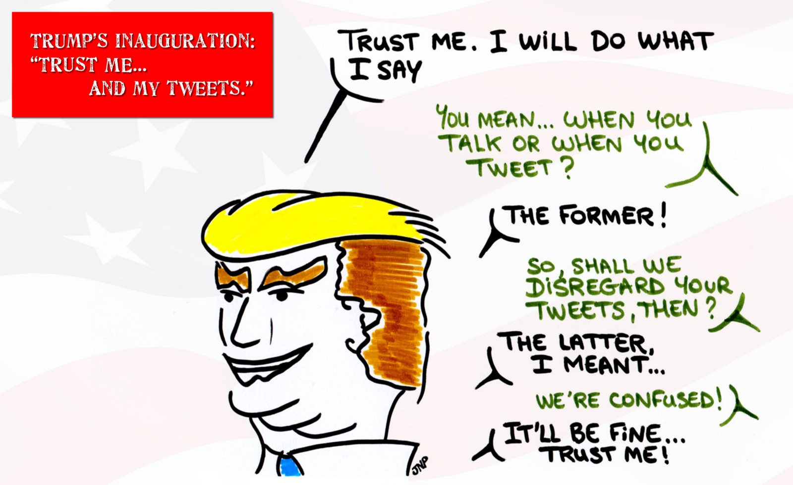 Image result for image cartoon trump confused