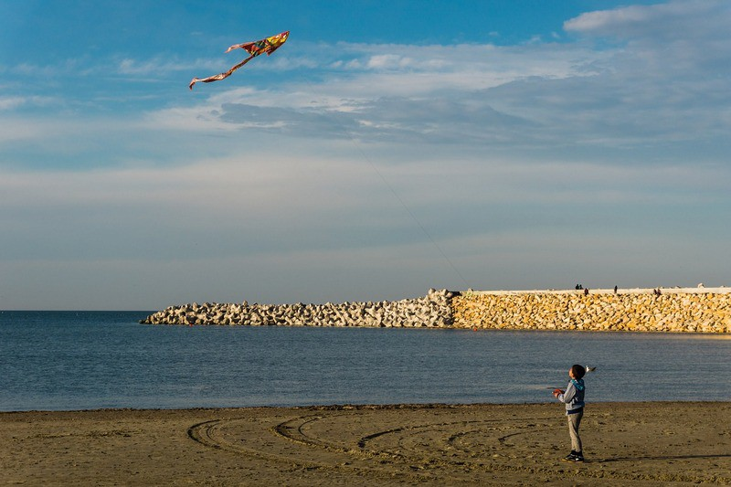 Child flying a kite on the beach