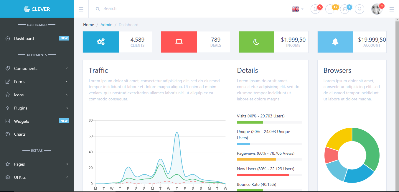 12 best premium angular 4 admin templates hacker noon clever bootstrap 4 admin template comes in 6 different versions html static html ajax angular 4 reactjs vuejs and angularjs pronofoot35fo Image collections