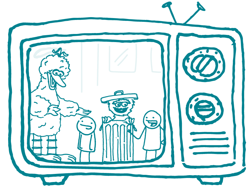 A TV screen shows Big Bird and Oscar the Grouch standing alongside two CommunicateHealth doodles.