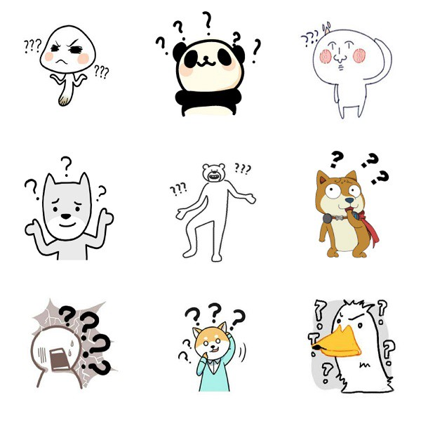 Non-Black and non-blackface stickers identified on WeChat as 黑人问号. (WeChat)