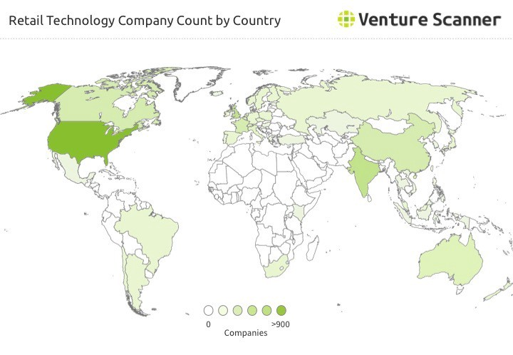 The Above Map Shows The Number Of Retail Technology Companies Located In Different Countries The United States Ranks As The Top Country With 875 Retail
