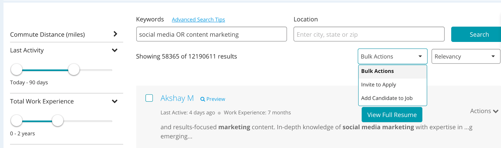 To Do A Search But Eliminate Results That Include A Particular Term, Use  The Command U201cNOT.u201d In The Example Below, The Recruiter Can See Results That  Include ...  Resume Database