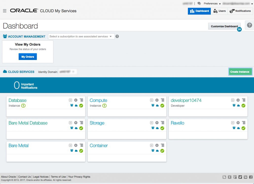 My Cloud Services Dashboard