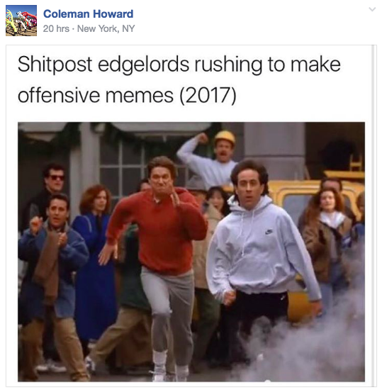 0*DLGnuEvubQY_rghA. charlottesville is tearing apart this 'seinfeld' meme facebook group