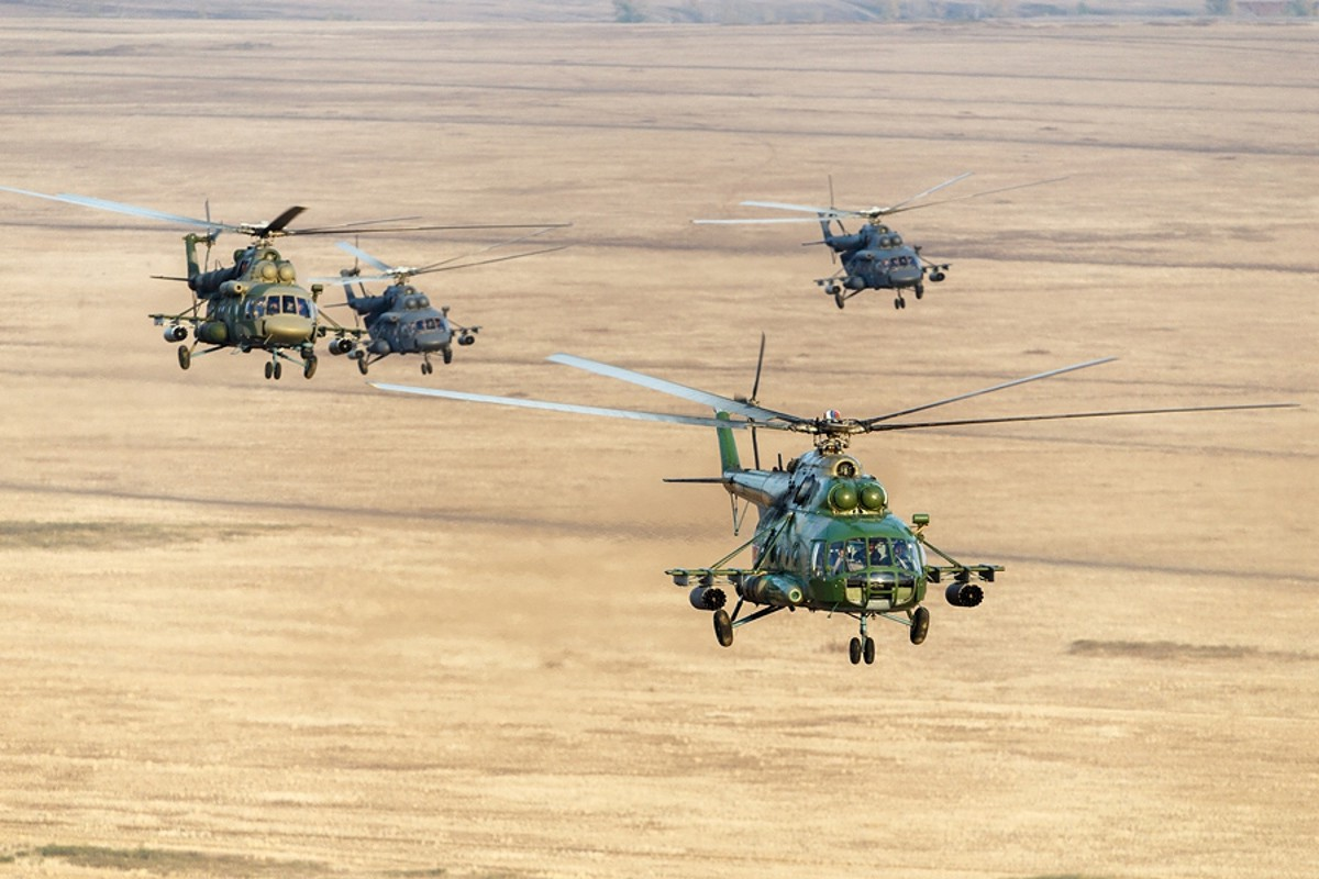 Russian Mi-8MTV/AMT helicopters during a training exercise. Russian Ministry of Defense photo