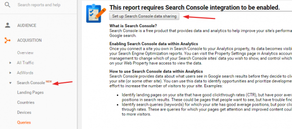 Accessing Search Console data in Google Analytics