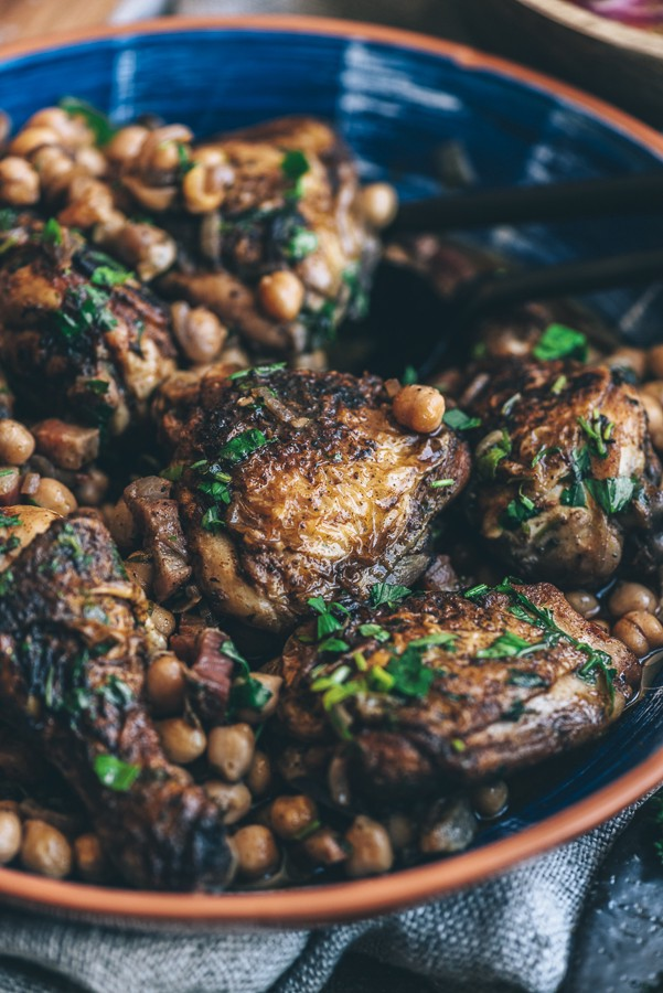 Red Wine Braised Chicken with Pancetta and Chickpeas