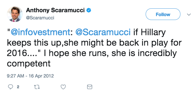 Image result for scaramucci tweet hillary