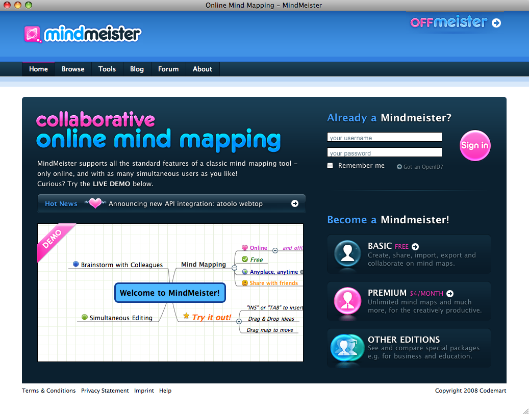 MindMeister homepage during the launch in May 2007