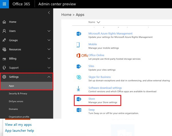 Remove the Store and Yammer app from the app launcher in Office 365